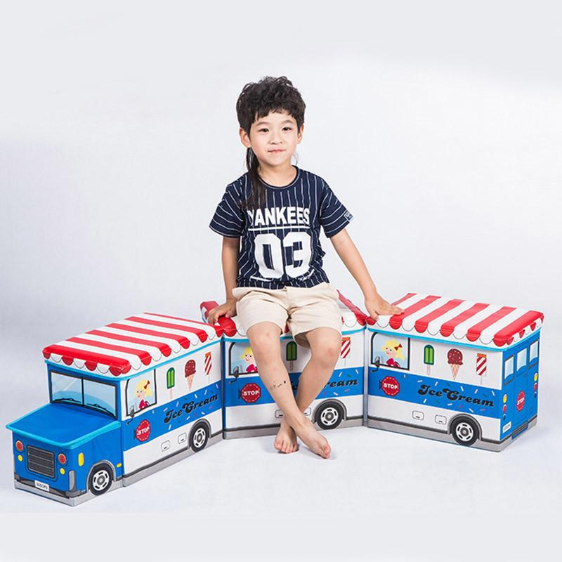 Children Cartoon Storage Chair School Bus Pattern Multi-function Fold Storage Box Stool Cloth Sundries Toys Organizer Load 50 kg