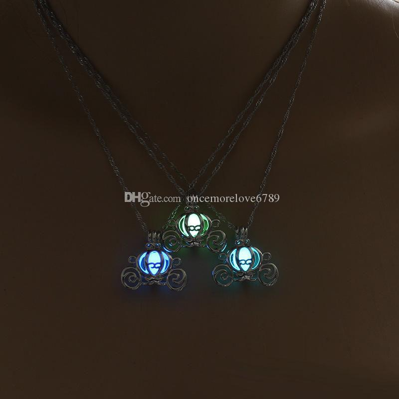 Retro Hollow Pumpkin Car Glow in the Dark necklace Silver Chain Jewelry luminous Pendants For Mens Punk cute Necklace