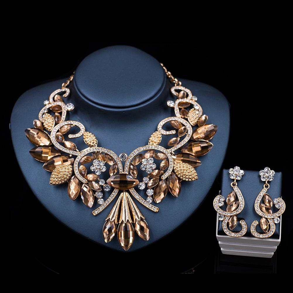 e8a54c17e2 NF62 New Jewelry Sets Necklace Earrings Crystal Enamel Flower African Maxi  Statement Jewelry Wedding Bridal Pendant Dress Accessories