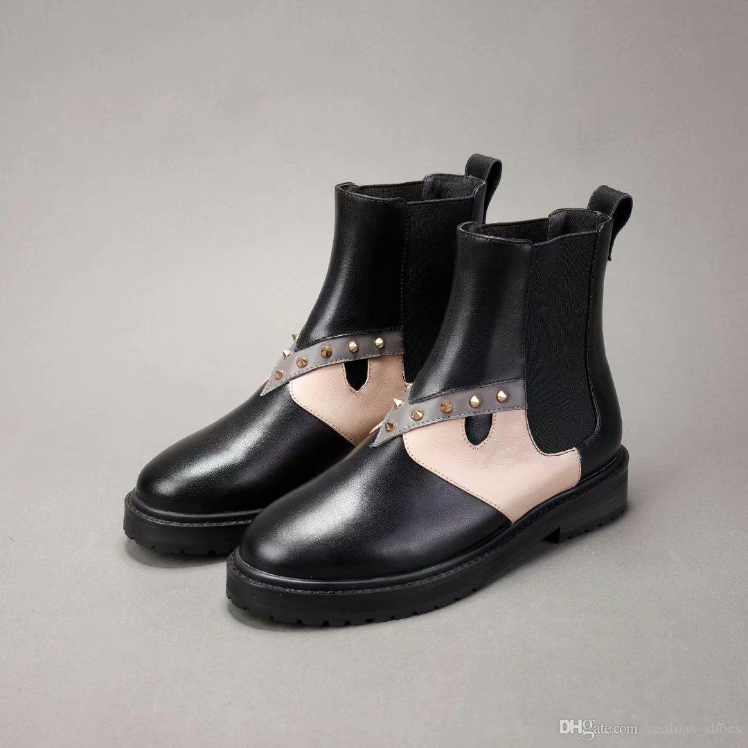 c848b34e8702 Acheter Designer Femmes Chaussures D hiver Chaussures À Talons Plats En Cuir  De Mode Femmes Bottes Marque Femme Cheville Botas Spikes Chaussures De Luxe  De ...