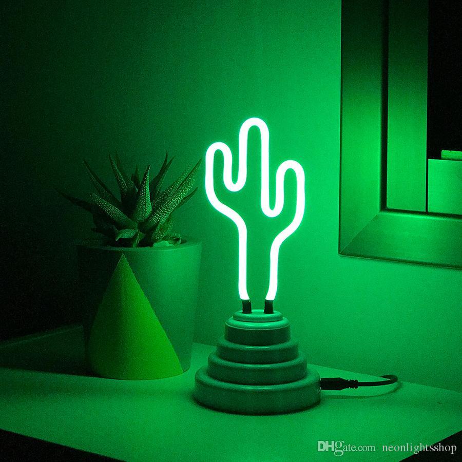 Mini cactus neon light