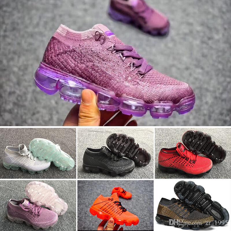 best service edadf d5ef3 Acheter Nike Air Max Voparmax Laceless 2018 Platinum Enfants Chaussures De  Course Gris Blanc Rainbow Infant Enfants Chaussures De Sport Baskets Garçon  ...