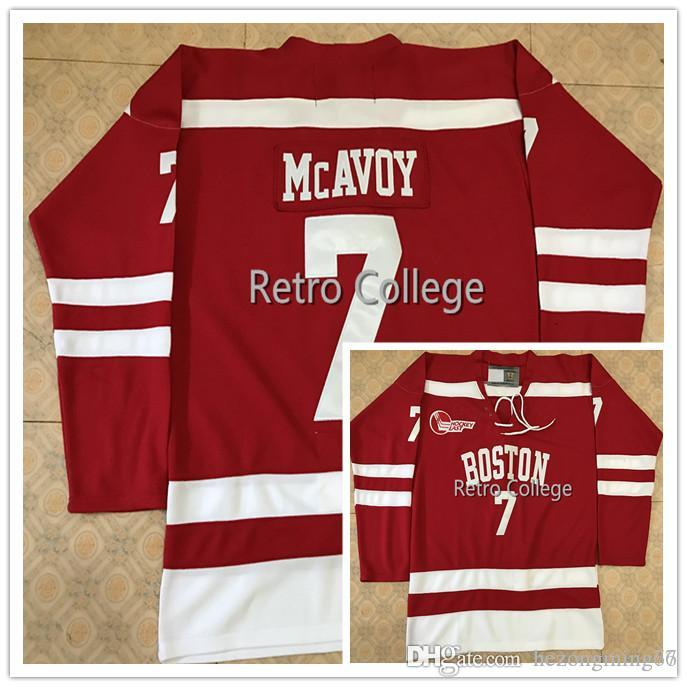 quality design c392b f7a26 Boston University #7 Charlie McAvoy Red Hockey Jersey Embroidery Stitched  Customize any number and name College Jerseys