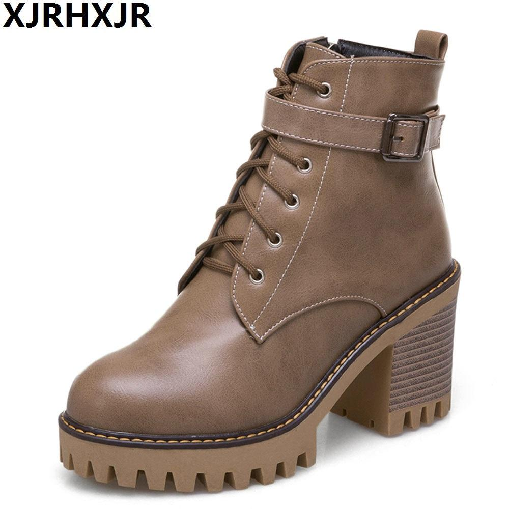 Winter Mens Genuine Leather Ankle Boots Pointed Toe Lace Up Shoes Footwear High Quality Block Heel High Top Work Safety Botas Ideal Gift For All Occasions Work & Safety Boots