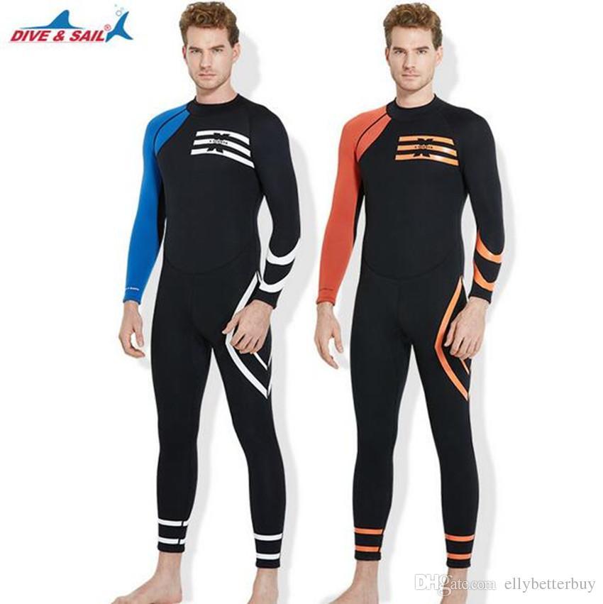 a936d10d84 2019 DIVE&SAIL One Pieces Scuba Dive Wetsuit Men Winter Warm Swimwear  Jumpsuit 3mm Neoprene Full Body Snorkeling Surfing Dive Suit From  Ellybetterbuy, ...