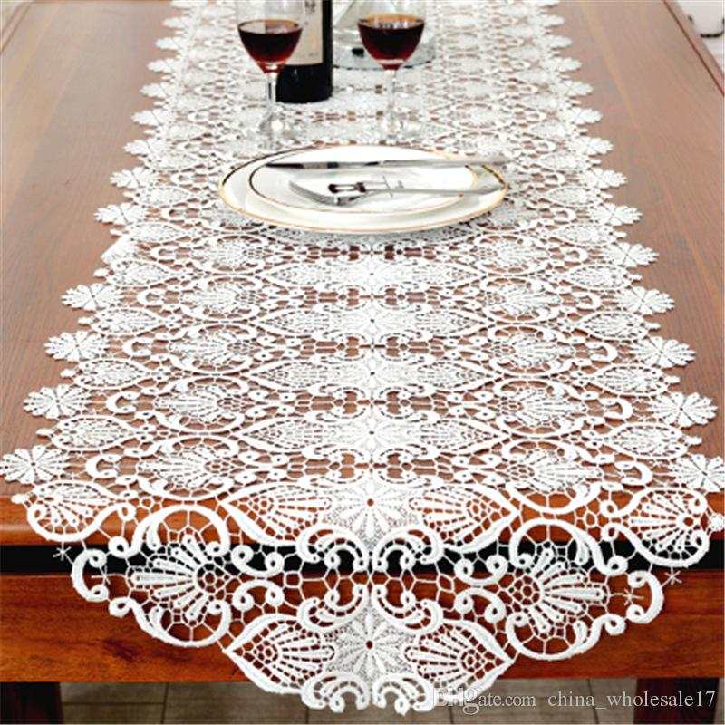 50*50cm New Cotton Table Runner White Embroidered Tea Lace Table Cloth  Cover Towel Home Christmas Tablecloth Placemat Wedding Decor Small Table  Runner Small ...