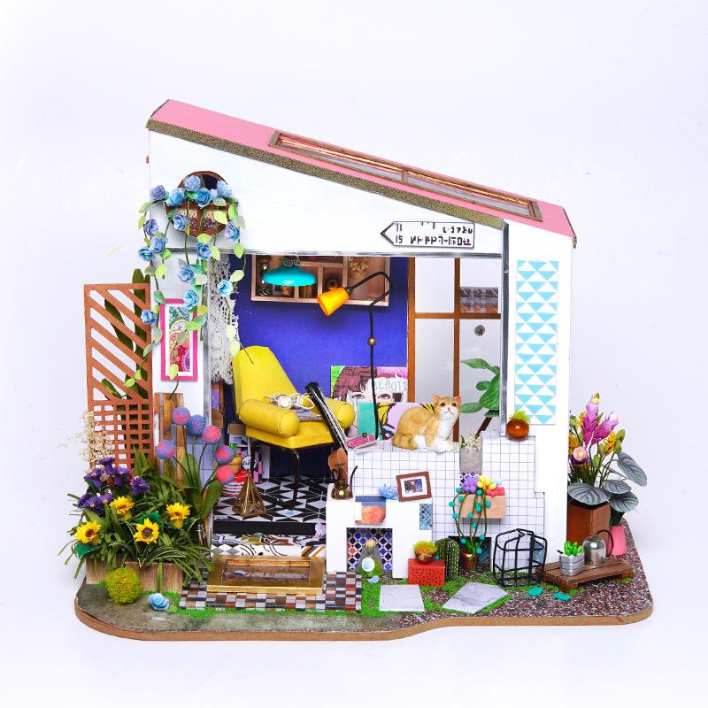 Doll House Wooden Furniture Diy House Miniature Box Puzzle Assemble 3D  Miniaturas Dollhouse Kits Toys For Children Birthday Gift Dolls House  Furniture ...