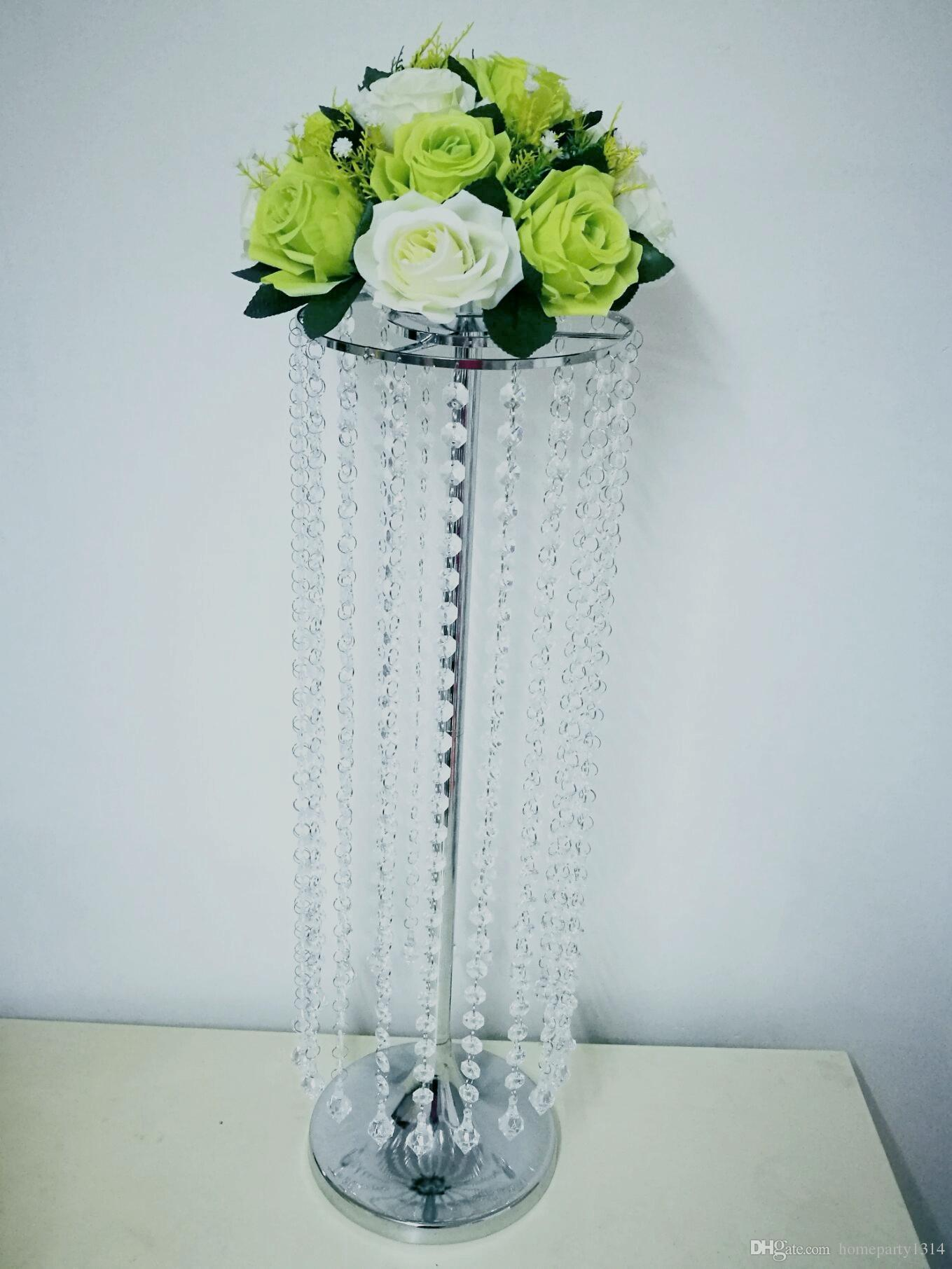 Tall 70cm Iron Stand Flower Vase Crystal Wedding table centerpieces Flower Candle Holder party event favors T-stage Road Lead