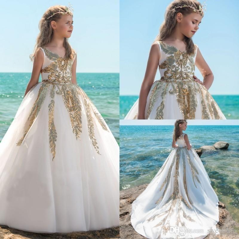 b6031af1b 2018 Spring Gold Sequins Ball Gown Flower Girls Dresses For Weddings V Neck  Baby Girl Birthday Party Gowns Cheap Kid First Communion Dresses My Girl  Dress ...