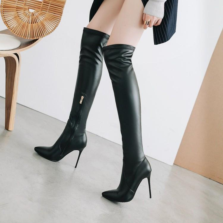 b03039d44 Compre PXELENA Sexy Slim Fit Botas Altas Das Senhoras Sapatos De Salto Alto  Stiletto Sobre O Joelho Botas Mulheres Apontou Toe Festa Data Vestido De ...
