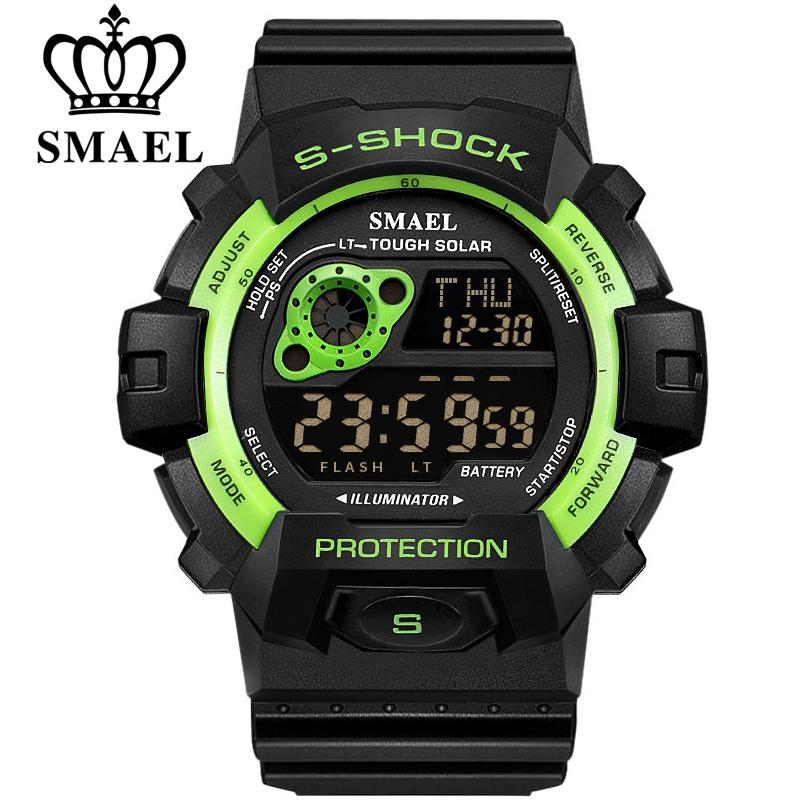 Fashion Brand Sports Military Watch Big Dial 2 Time Zone Mens Watches Digital Led Watch Fashion Casual Electronics Wrist Watches Watches