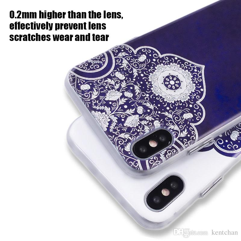 For iPhone 6 6plus 7 7plus 10X handphone case Chinese style Imitation blue and white porcelain style all-inclusive protection case