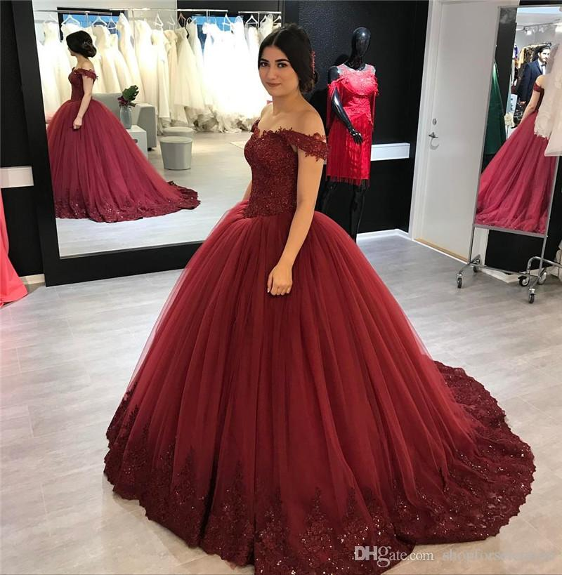 4af2a51fae Burgundy Ball Gown Lace Prom Dresses 2019 Off Shoulder Plus Size Vintage  Sequined Beaded Puffy Tulle Skirt Cheap Quinceanera Evening Gowns Prom Dress  Stores ...