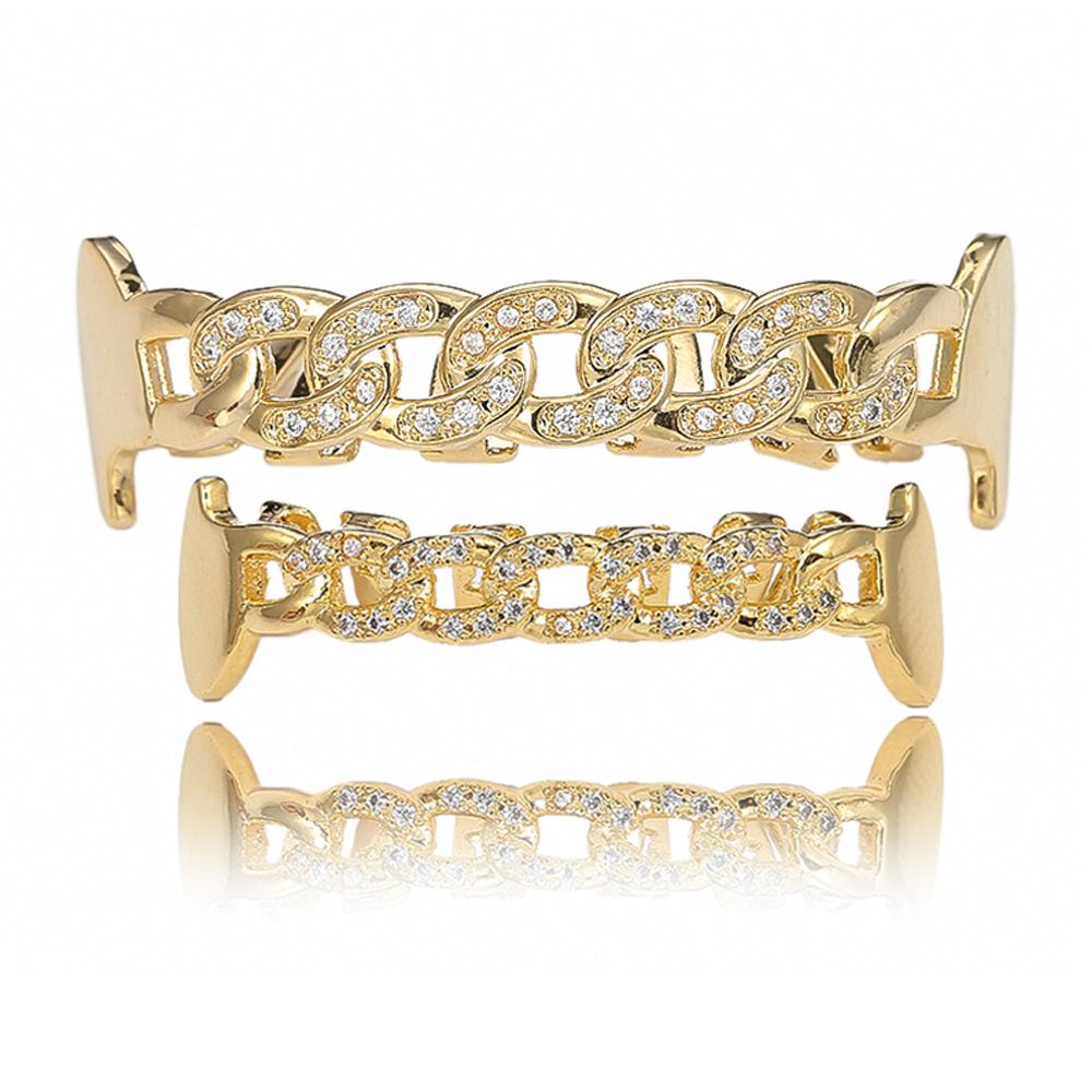 New hiphop hollowed out gold plated crystal teeth in Europe and America