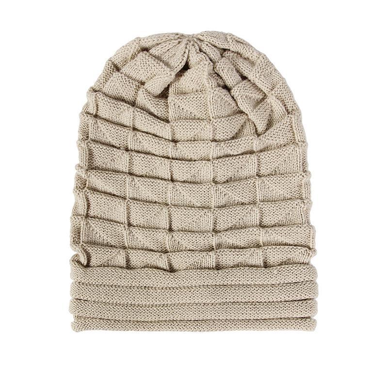 Großhandel Dicke Warme Strickmütze Plissee Wolle Winter Warme Mütze