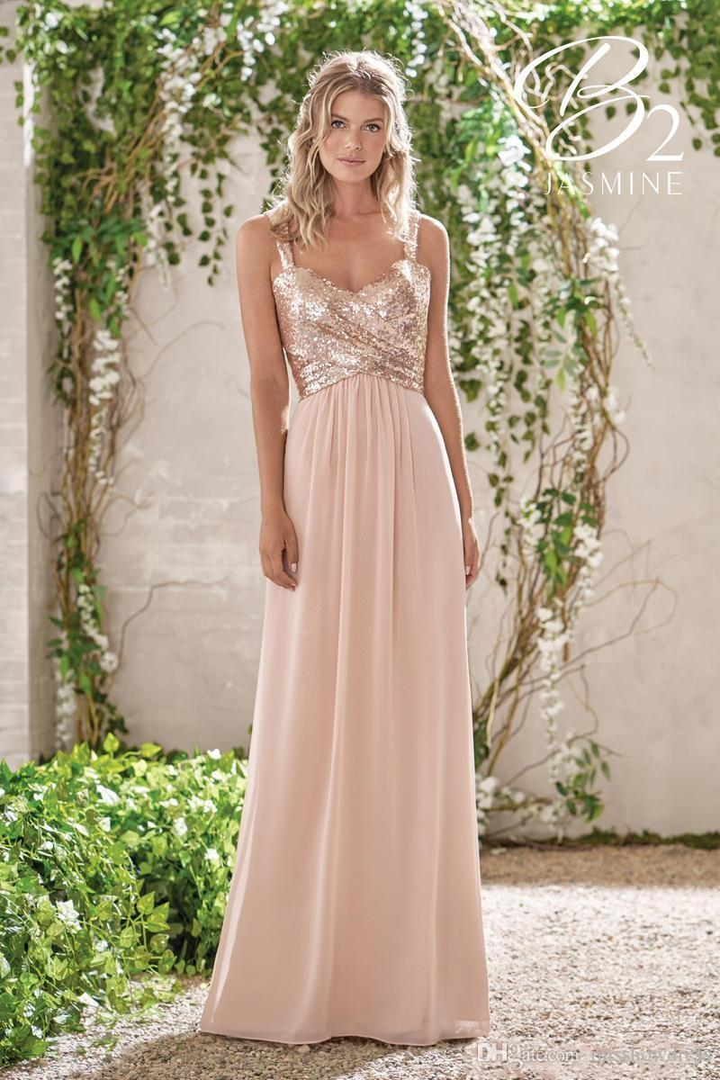 Elegant Rose Gold Sequins Chiffon Long Bridesmaid Dresses Halter Backless Straps Ruffles Wedding Guest Plus Size Maid Of Honor Gowns BM0154