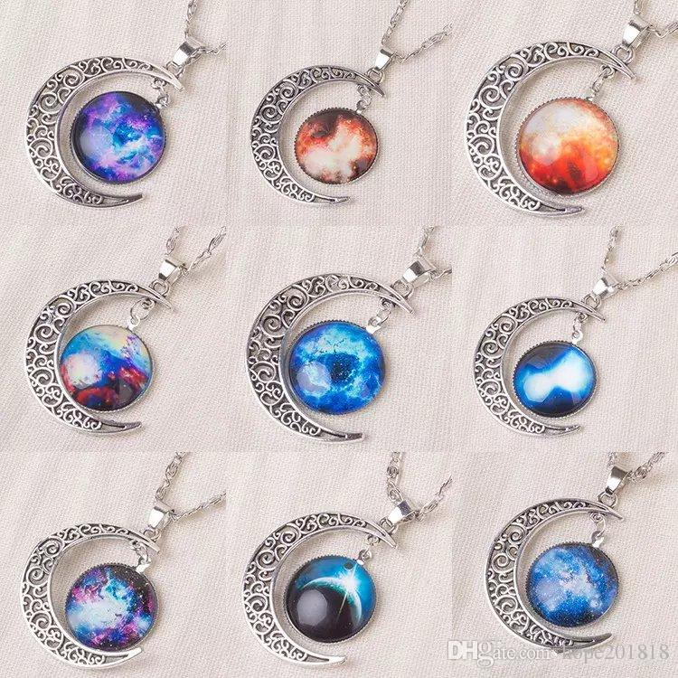 In stock New Vintage starry Moon Outer space Universe Gemstone Pendant Necklaces Mix Models
