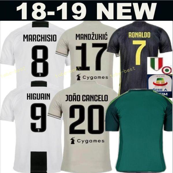 e3cc2648d0d 2018 2019 Serie A Juventus RONALDO Jersey 7 Soccer Men White 17 ...