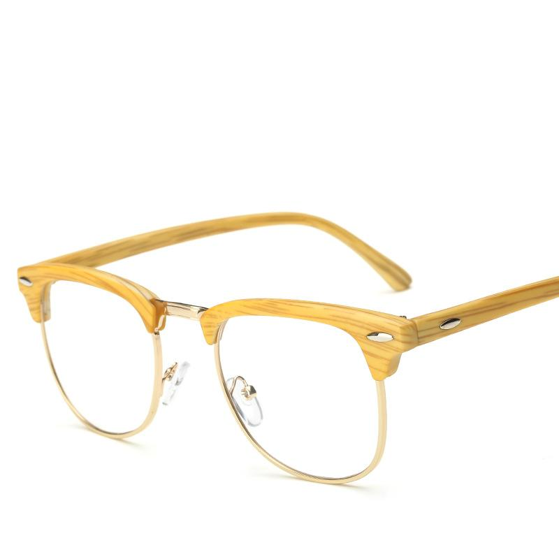 2aa82a4bc0 2019 Retro Glasses Frame Men Spectacle Frame Women Imitation Wood Grain  Eyeglasses Metal Half Reading Fashion 2018 Vintage From Watercup