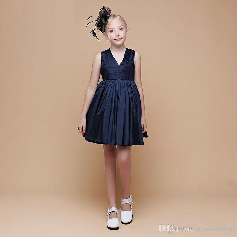 0a633547194 Navy Blue Satin A-Line Girl Party Dress Above Knee Length Professional  Designer Pageant Girl s Gown Competitive Price