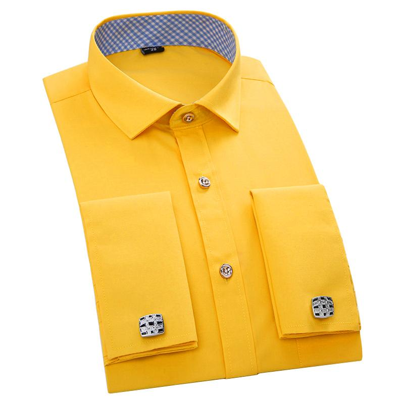Compre Gemelos Franceses Hombres Manga Larga Camisas Negro Blanco Azul  Amarillo Solapa Hombre Vestido De Negocios Camisa Fit Wedding Party Hombres  Clothin A ... 8da20616e31