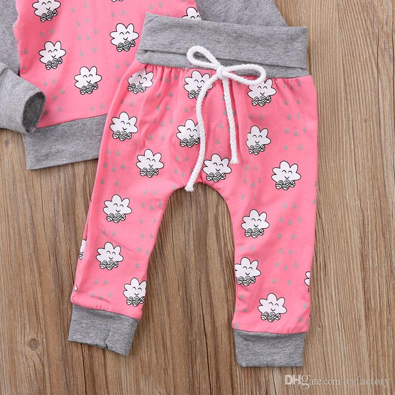2018 Baby Girl Hoodie Toddler Outfits Tops + Pants Set Geometric Baby Clothing Long Sleeve Pink Girls Clothes 0-24M