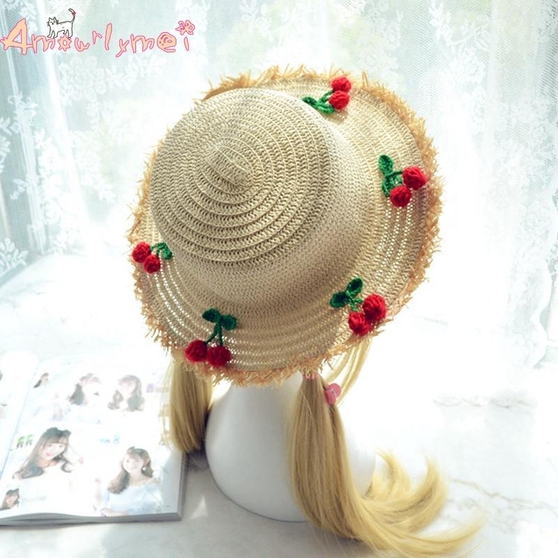 f79c59343f73b6 Amourlymei Japanese Style Mori Girl Lolita Straw Hat Sweet Kawaii Cherry Sun  Hat For Women Summer Hats Mens Caps Crazy Hats From Hermane, $21.58|  DHgate.Com