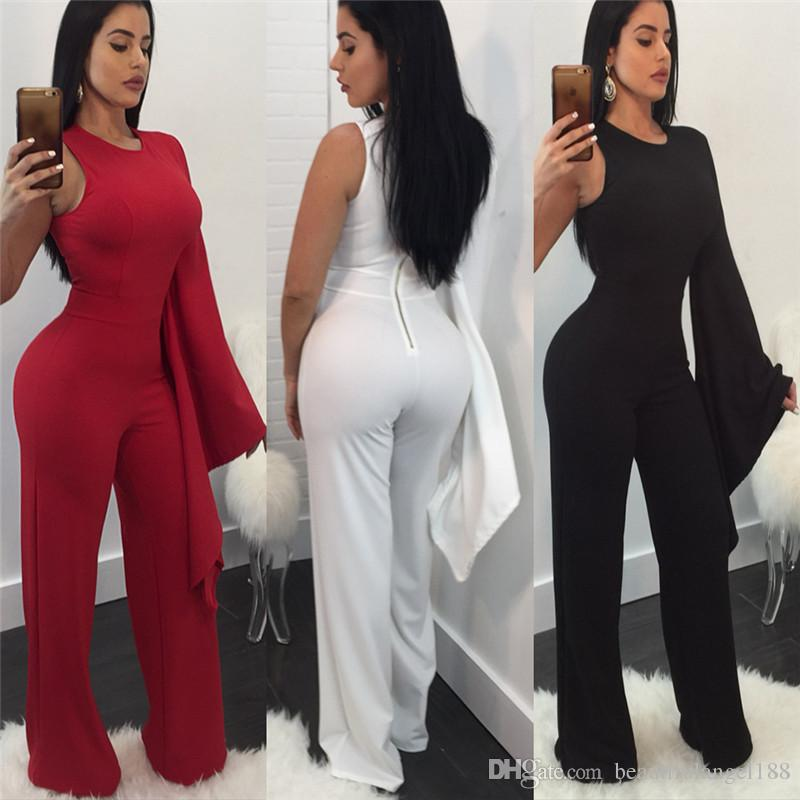 7cde7e265586 2019 Women Sexy One Side Long Sleeve Loose Jumpsuits O Neck Slim Rompers  Night Club Overalls High Quality Ladies Clothing From Beautifulangel188