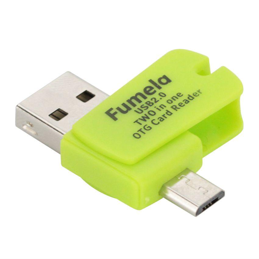 4 Cores Mini Micro USB 2.0 OTG Adaptador + Micro TF SD Card Reader para celulares Android exteral cartão SD Portable USB Leitor Suppion