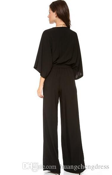 Simple 2019 Latest Black Chiffon Jumpsuit Evening Wear Cheap Deep V Neck 3/4 Long Sleeve Bow Sash Pants Suit Custom Made EN5162 prom
