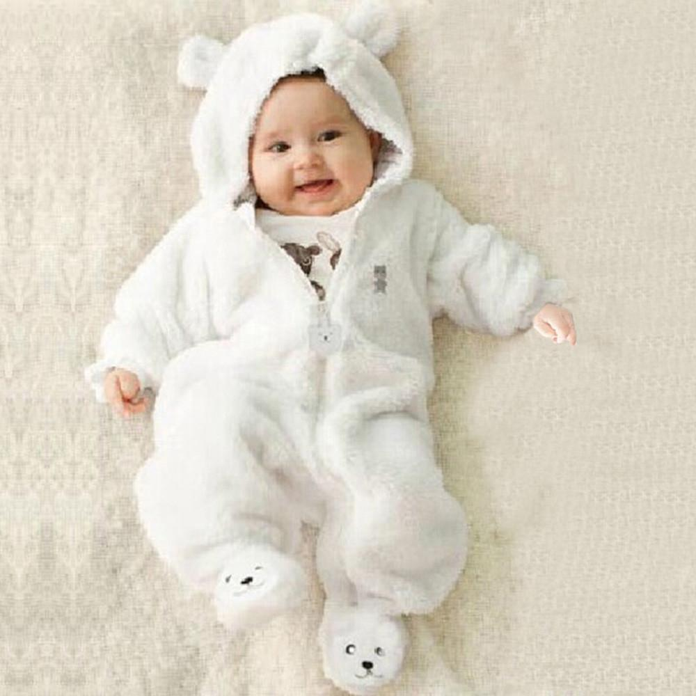 c5de432bec7a 2019 Autumn Winter Newborn Baby Infant Boy Girl Romper Bear Hoodie Solid  Cotton Thick Jumpsuit Clothes For 0 9M Lowest Price From Babymom