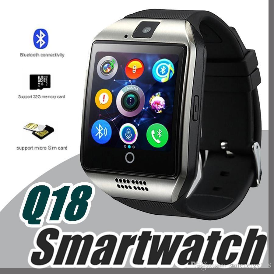 b33e8a975b32 Todo Relojes 10X Q18 Relojes Inteligentes Para Teléfonos Android Smartwatch  Bluetooth Con Cámara Original Q18 Soporte Tf Tarjeta Sim Bluetooth  Connection K ...