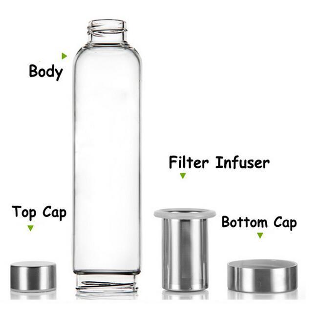 550 ml 22 oz Cam Su Şişesi BPA Ücretsiz Yüksek Sıcaklığa Dayanıklı Cam Spor Su Şişesi Çay Filtre Demlik Şişe ile Naylon Kol