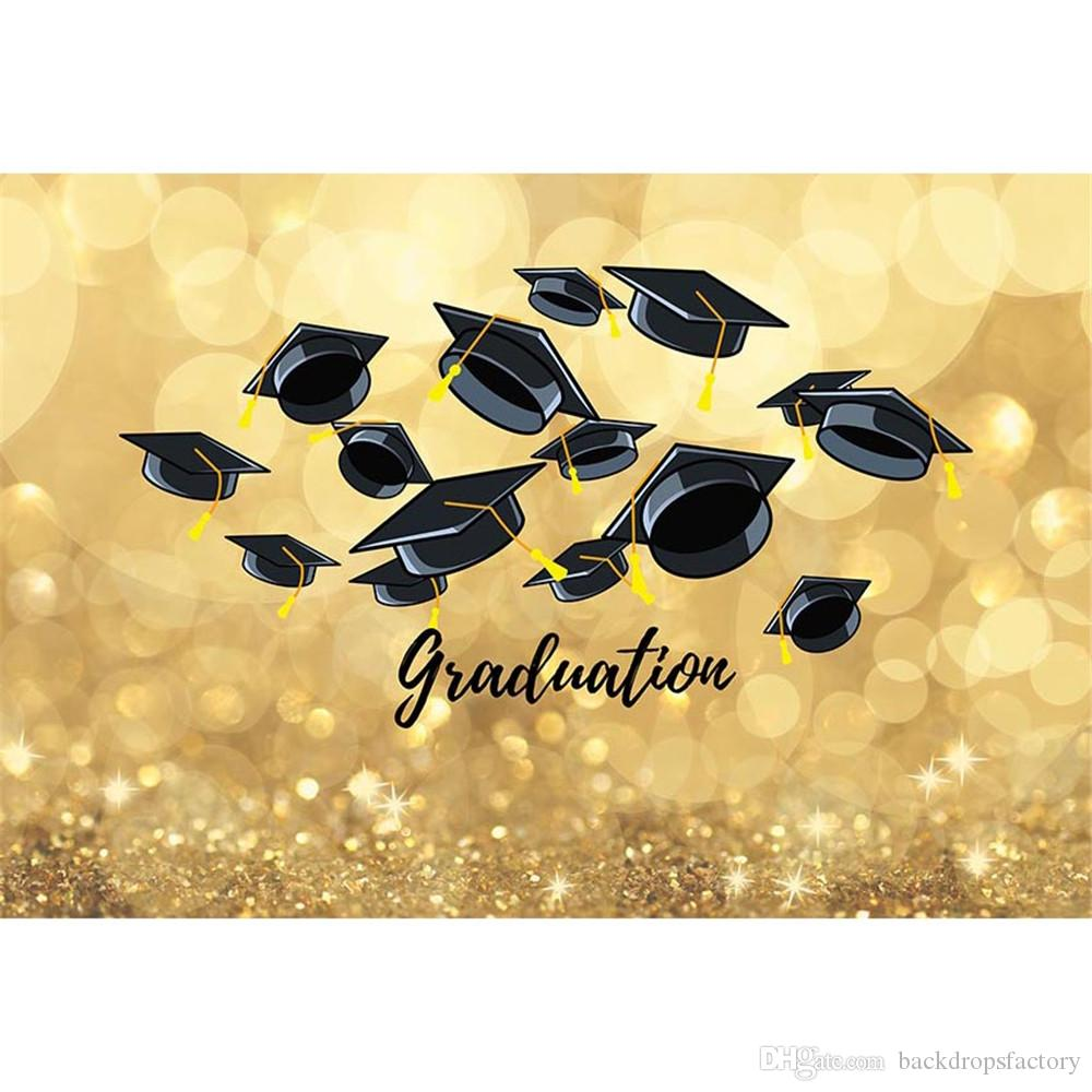 2018 Graduation Theme Party Photo Booth Backdrop Printed Bokeh Gold ...