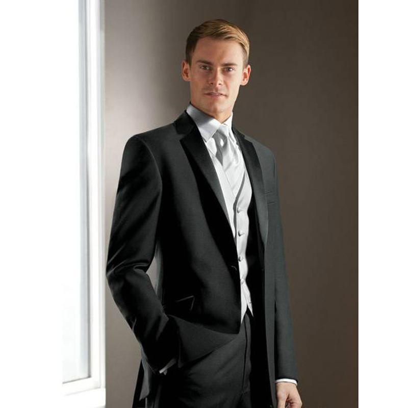 f3d805c3fb62 Compre Desgaste Elegante Del Novio Negro Muesca De Satén Solapa Tuxedo Boda  Trajes Para Hombre Mejor Hombre 3 Traje De Hombres Peices Chaqueta +  Pantalones ...