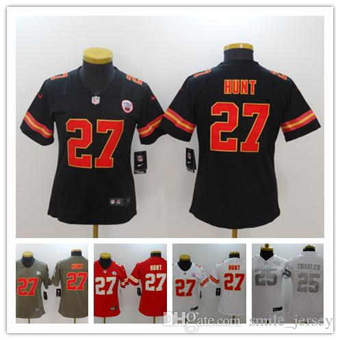 2019 New Women 27 Kareem Hunt Chiefs Football Jersey 100% Stitched  Embroidery 25 Jamaal Charles Color Rush Kansas City Women Football Shirts Kareem  Hunt ... ea7795185