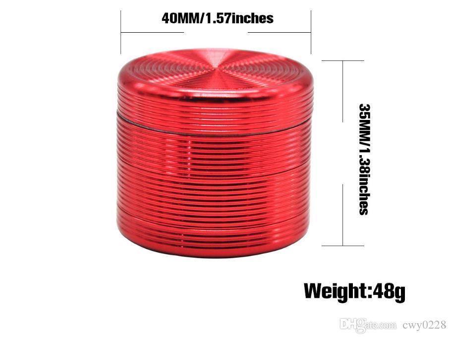 Broyeur à fumée en alliage d'aluminium, Broyeur à fumée en métal, Broyeur à cigarettes à quatre couches de diamètre 40mm