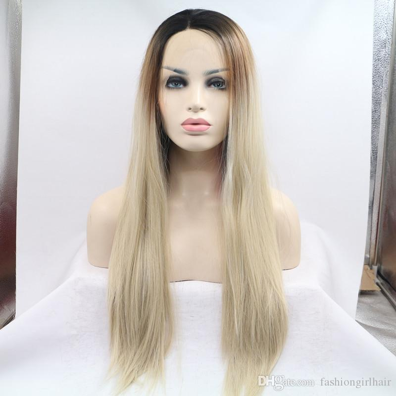 Three tone synthetic Lace Front Wig Long dark roots /brown/blonde Ombre High Temperature Heat Resistant Fiber Fully Hair Natural Women Wigs