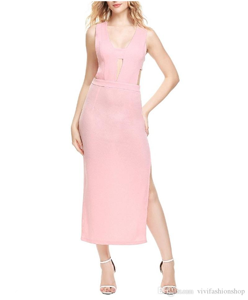 Acquista Vestito Aderente Sexy Da Party Donna Marrone Scollo A V Side Split  Slim Cami Abiti 2017 Fashion Elegante Club Midi Dress CL359 A  26.02 Dal ... bf78be52830