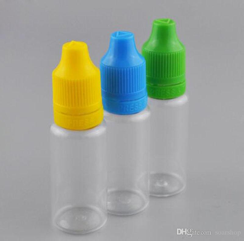 Lotes al por mayor del ANIMAL DOMÉSTICO claro plástico vacío cuentagotas botellas líquidas del ojo botella de 15ml E cigarrillos con tapas a prueba de manipulaciones