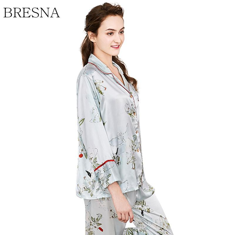 2019 BRESNA Women Pajama Sets Prints Floral Full Sleeve Turn Down Collar  Shirts And Long Pants Set 2018 Autumn Women Sleepwear From Cansou fdbd961d2
