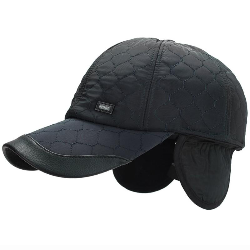 f84c5afb104 HT1875 Men Baseball Caps Winter Warm Earflap Dad Hats For Men Leather Brim  Snapback Baseball Hats Adjustable Cap Winter Superman Cap Hat Embroidery  From ...