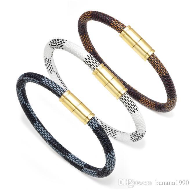 2018 Latest Fashion Couple Leather Bangle Bracelets With Gold