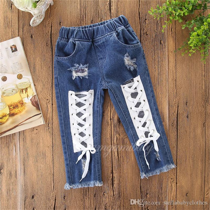 9630d53e4a Best Selling Explosion Girls Pants 2019 New Hole Loose Jeans Girls Thin Pants  Toddler Boys Pants Boys Khaki Pants Elastic Waist From Stellababyclothes,  ...