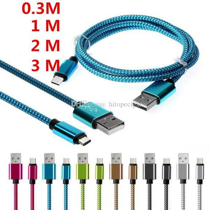 1 M 2 M 3 M Liga de Alumínio de Carregamento de Tecido Trançado USB 2.0 Tipo C cabo de Dados de Acessórios Bundles para o Tipo c Samsung Android
