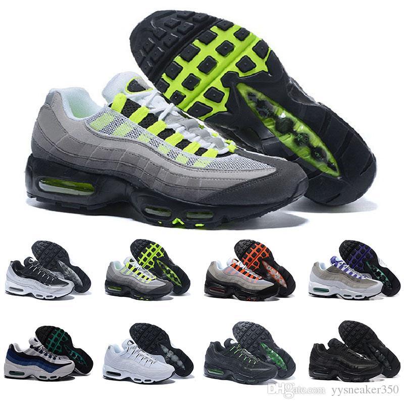 quality design d765f 59a1d Compre Nike Air Max 95 Airmax Envío De La Gota Venta Al Por Mayor  Zapatillas Hombre Airs Cojín 95 OG Sneakers Botas Auténtico 95s Nuevo  Walking Descuento ...