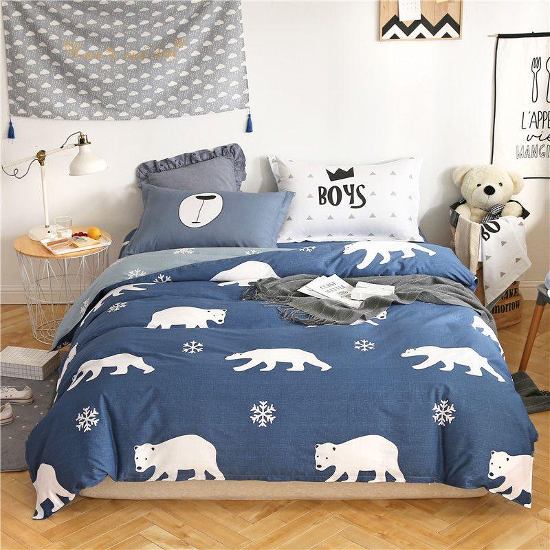 Cartoon White Blue Polar Bear Bedding Sets Twin Full Queen King Bed