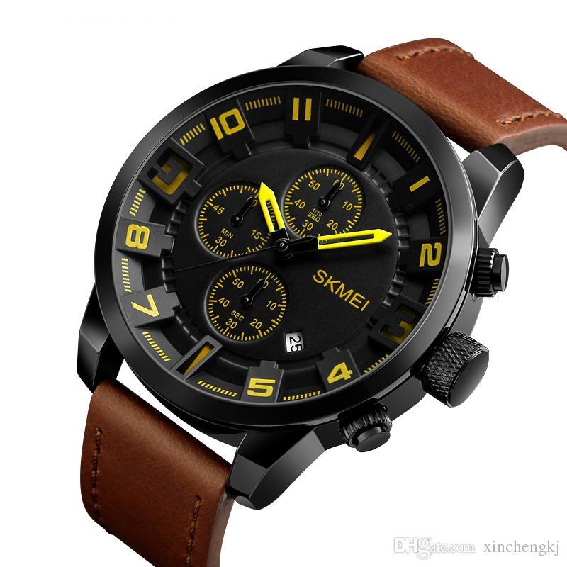 1dd3c99ef84 Compre Skmei 1309 Marca De Negócios De Luxo Relógio De Quartzo Homens Do  Esporte Relógios 3 Mostradores 6 Mãos De Couro À Prova D  água Relógio De  Pulso ...