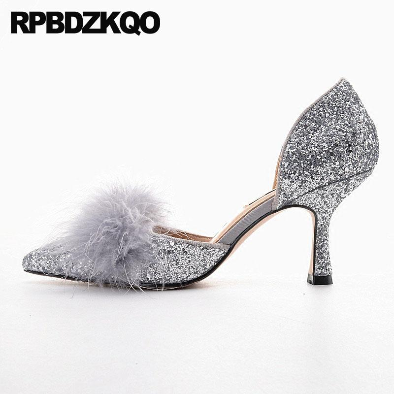 33bafd1175f7 Pointed Toe Bridal Fur Silver High Heels Sandals Sparkling Bling Women  Dress 2018 Size 33 3 Inch Scarpin Shoes Pumps Glitter Cheap Shoes Dansko  Shoes From ...