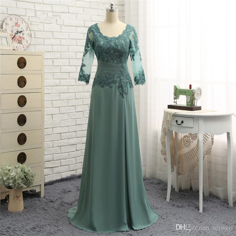 50e3aaed70 well Draped Chiffon Mother Of The Bride Dresses Long Sleeves Olive Green  Lace A Line Mother Of The Groom Dress Custom Evening Gowns Large Size  Mother Of The ...